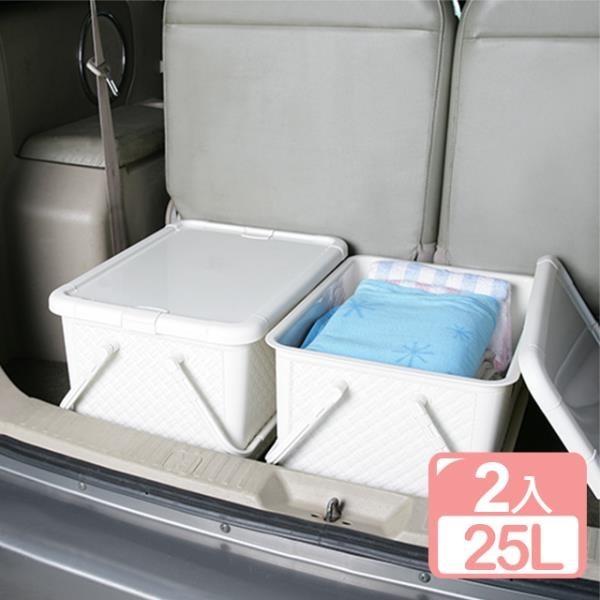 【南紡購物中心】《真心良品》藤蔓風手提整理箱25L(2入)