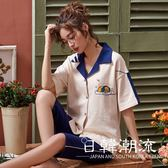 短袖居家服  2019實拍夏季新款6535短袖睡衣套裝女開衫七分褲可外穿甜美家居服
