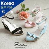 楔型.甜美荷葉邊交叉繞踝楔型涼鞋-FM時尚美鞋-韓國精選.shine