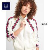 Gap女裝 運動風格條紋裝飾立領夾克 281992-米白色