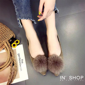 IN'SHOP 娃娃鞋-秋氛沁甜女孩毛絨尖頭平底鞋-共2色【KF00746】
