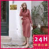 梨卡★現貨 - 韓國甜美氣質綁帶蝴蝶結顯瘦中長版針織連身裙洋裝B762