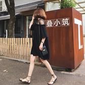 洋裝中大尺碼連身裙M-4XL網紗拼接黑色短袖雪紡連衣裙女夏季韓版氣質顯瘦A字小黑裙.4F039.依品國際