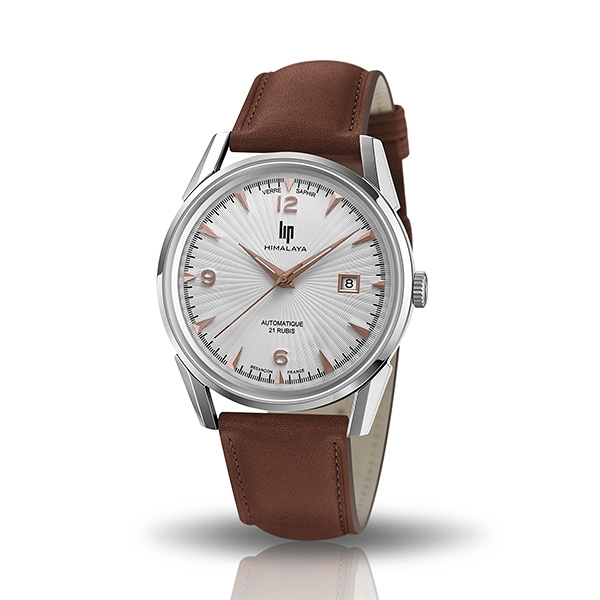 【lip】Himalaya質感太陽線真皮機械腕錶-深棕款/671583*/台灣總代理公司貨享兩年保固