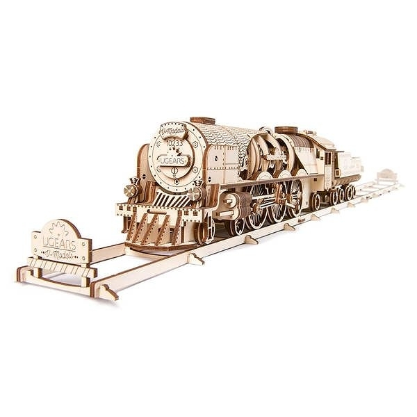 Ugears 自我推進模型 - 虧雞Train V-Express Steam Train with Tender 來自烏克蘭.機械驚奇 ! 強強滾