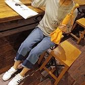 寬褲-高腰帥氣拼接寬鬆時尚九分女牛仔褲71ai12[巴黎精品]