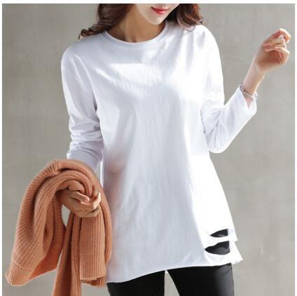 春季新款白色長袖t恤女中長款上衣寬松下擺破洞韓版打底衫女 范思蓮恩