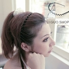 【X262】shiny藍格子-營造自然.時尚感波浪細版髮箍髮圈