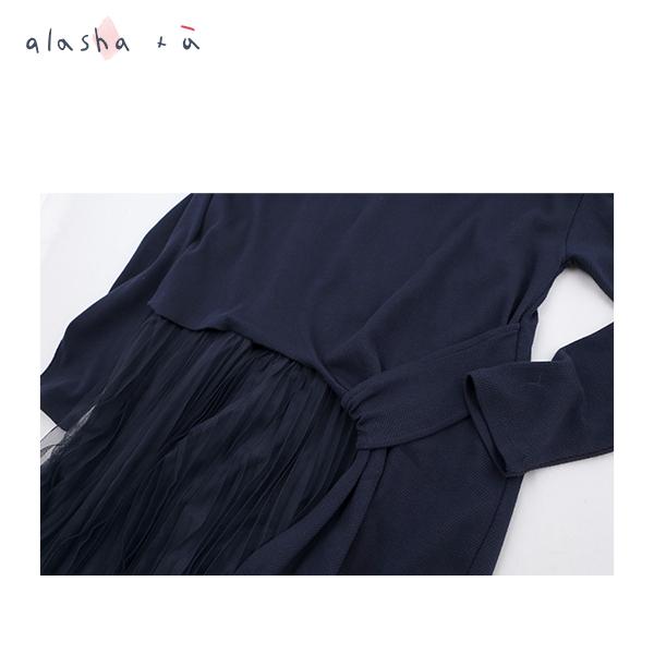 a la sha +a  拼接百褶網紗棉質洋裝