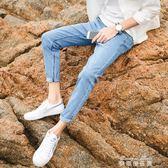九分牛仔褲子男修身小腳韓版潮流夏季淺色淺藍色破洞七分9分   麥琪精品屋