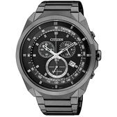 CITIZEN 光動能 幾何元素3眼計時男錶 (全黑鋼)AT2155-58E
