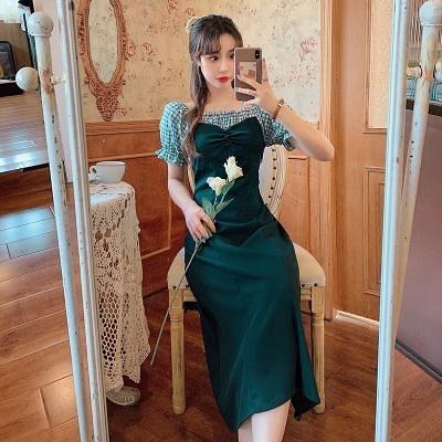 M-4XL大碼洋裝~9910#夏大碼女裝泡泡袖綠色小清新甜美氣質顯瘦長裙2F102-B胖妹大碼女裝
