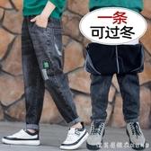 男童加絨牛仔褲冬裝新款中大童寬松厚長褲秋冬季兒童一體絨褲子潮 美眉新品
