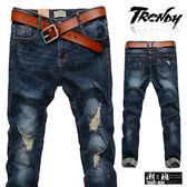 『潮段班』【SD033219】M-XL深色刷破刷白反摺牛仔長褲 休閒長褲 牛仔褲
