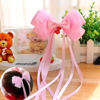 女童頭飾發夾韓國兒童飄帶大蝴蝶結發飾公主緞帶頂夾發卡甜美飾品·Ifashion