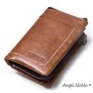 短夾-全真皮頭層牛皮復古瘋馬皮縫線豎款男士皮夾中夾零錢包 Angelnana (SMA0229)