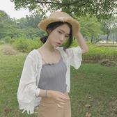 夏秋防曬衣女短款雪紡開衫透視罩衫白色薄款披肩外搭小外套空調衫