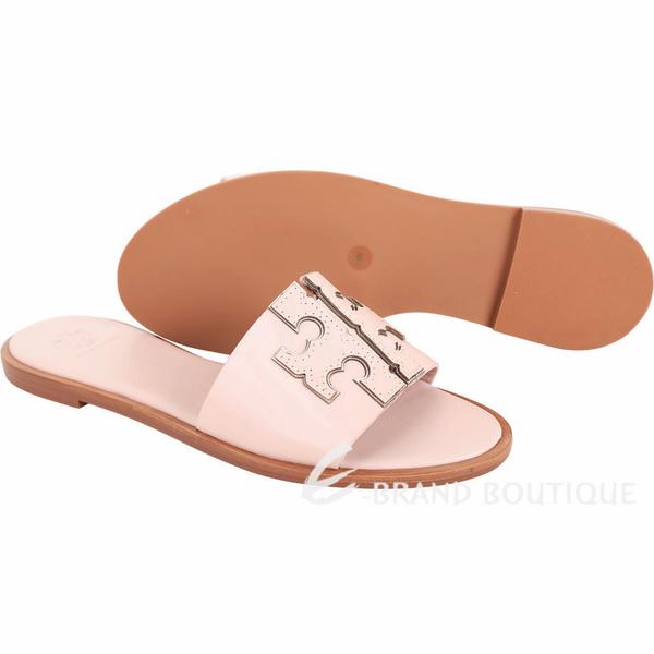 TORY BURCH Ines T字撞色鑲邊牛皮拖鞋/涼鞋(粉色) 1920733-05