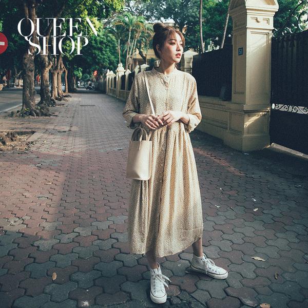 Queen Shop【01084818】中山領小碎花排釦雪紡長洋裝 三色售*現+預*