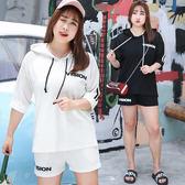 ★韓美姬★中大尺碼~潮流個性運動服短褲短袖套裝(XL~4XL)