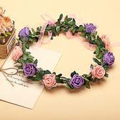 [橘紫雙色玫瑰花 人造花髮帶 仿真花花圈 花冠假花環] 婚禮小物 生日禮物 求婚&畢業表演花禮