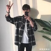 2019秋裝新品男士格紋長袖襯衫日系文藝格子潮流男上衣水洗衫