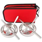 現貨 戶外不銹鋼餐具包便攜旅行折疊野餐包餐具套裝【雲木雜貨】