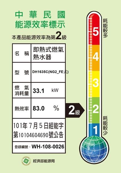 【SAKURA櫻花】16L 四季溫智能恆溫熱水器 DH1635C