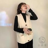 馬夾寬鬆V領秋季百搭無袖針織毛衣馬甲背心外套女【小酒窩服飾】