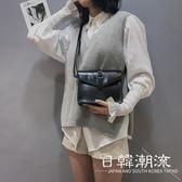 側背包  包包女2019新款韓國復古油皮小方包港風斜挎包百搭單肩包