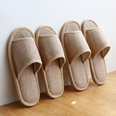 夏季美容院會所待客用男女亞麻涼席拖鞋防滑家居室內木地板草編鞋