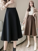 半身裙傘裙女中長款A字裙春裝2021年新款女一步裙高腰大擺裙長裙 韓國時尚週