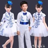 青花瓷公主蓬蓬裙演出服男女童詩歌朗誦大合唱表演服裝中國風 時尚潮流
