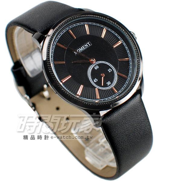 MOMENT舜時 日本機蕊 小秒盤時刻 真皮錶帶 男錶 黑色 MO8091黑大