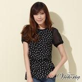 Victoria 點點雪紡長版短袖T-女-黑色