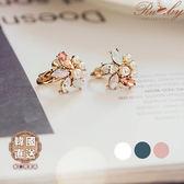 耳環 韓國直送葉子形狀水鑽珍珠耳環(夾式)-Ruby s 露比午茶