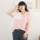 《AB11016》台灣製造.配色拼接V領寬鬆短袖上衣/T恤 OrangeBear
