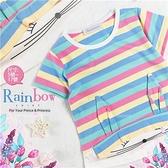 【封館5折】彩色條紋兔兔短袖棉質上衣(310082)