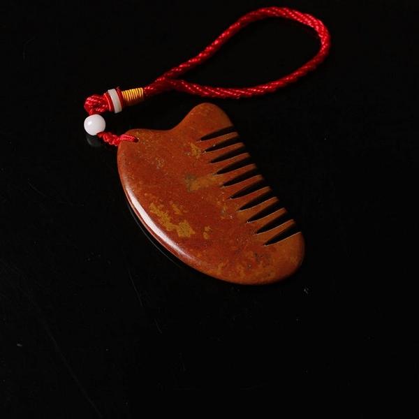刮痧板 天然泗水富貴紅砭石刮痧板梳子按摩梳頭正品梳子三角梳經絡梳子 非凡小鋪 新品