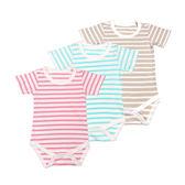 日本西松屋 圓領短袖包屁衣 三件組 粉條紋 | 女寶寶 | 北投之家童裝【NI0249102】