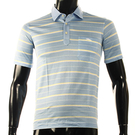 LONGCHAMP 經典純棉雙條紋短袖POLO衫(灰藍/黃)179240-7