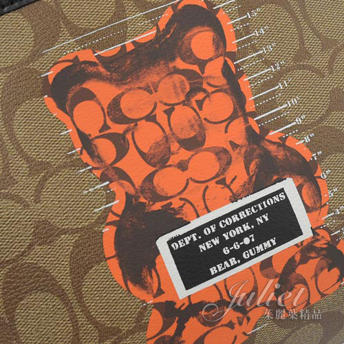 茱麗葉精品【全新現貨】COACH 76652 Vandal Gummy小熊聯名暴力熊斜背包.咖