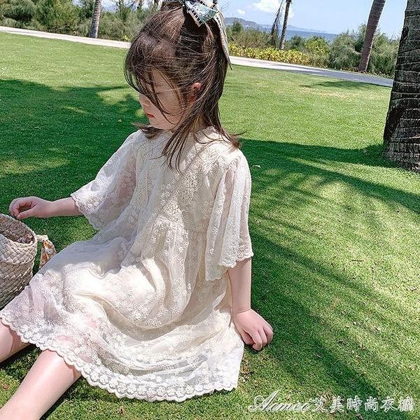 童裝2021新款女童夏裝蕾絲洋裝/連身裙兒童洋氣小香風寶寶公主裙子 快速出貨