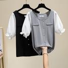 t恤上衣大碼XL-5XL2294夏裝新款韓版大碼女裝胖mm200斤寬松顯瘦遮肉短袖T恤F5026胖妞衣櫥