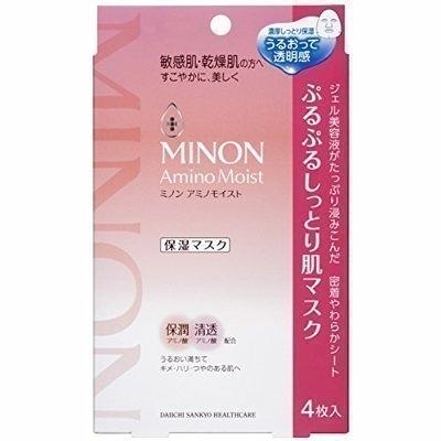 日本 MINON amino moist 保濕面膜 9種氨基酸保濕面膜 4枚入 盒裝 片狀凍膜◐香水綁馬尾◐
