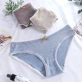 蕾絲花邊螺紋彩棉女內褲日系簡約可愛學生三角褲《小師妹》yf387