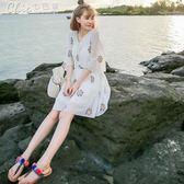 泰國刺繡寬鬆碎花雪紡連身裙女夏小清新大尺碼女裝沙灘裙子海邊短裙「Chic七色堇」