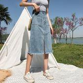 夏裝2018新款女裝開叉牛仔半身裙女韓版學生中長款高腰A字裙子潮