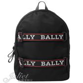 茱麗葉精品【全新現貨】BALLY 6221629 吊帶LOGO造型尼龍休閒後背包.黑 大