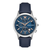 EMPORIO ARMANI 冷都時尚三眼腕錶-藍